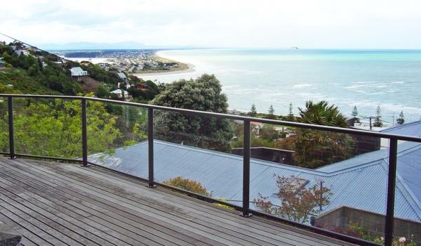 Glass balustrades with aluminium frame.