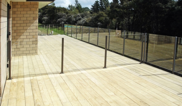 Glass balustrade with aluminum posts.