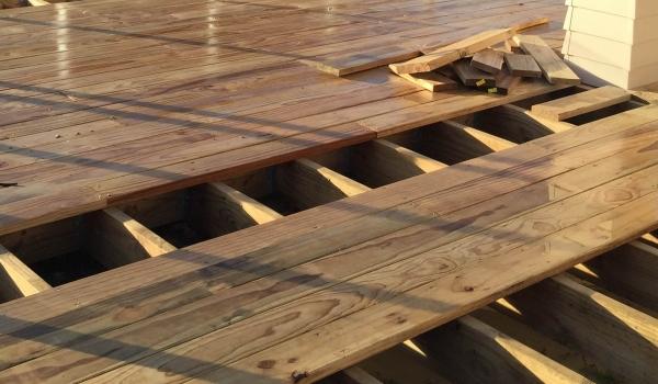Building a pine timber deck.