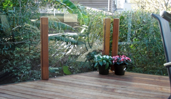Glass balustrade with timber posts.