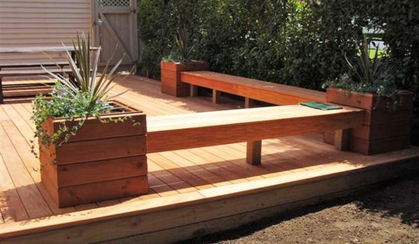 Kwila timber deck with bench seating.