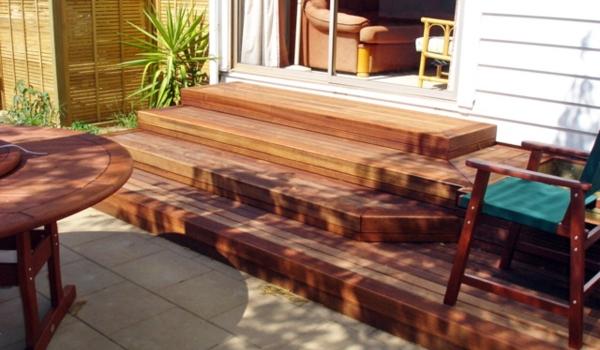 Kwila timber steps with pine trellis.