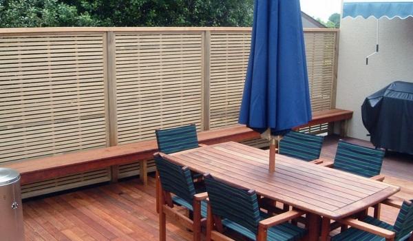 Kwila timber deck with oriental pine trellis.