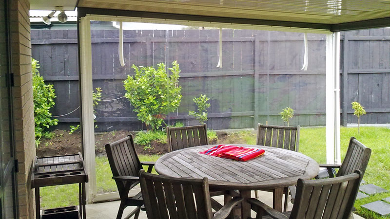 Outdoor PVC blinds.