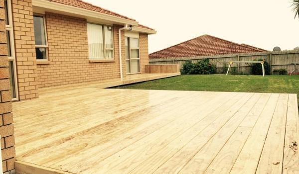 Pine timber deck.