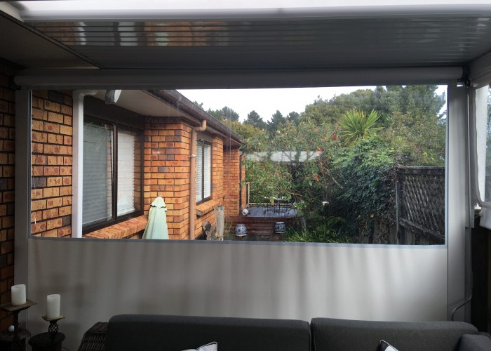 PVC clearglass channelled outdoor blinds.