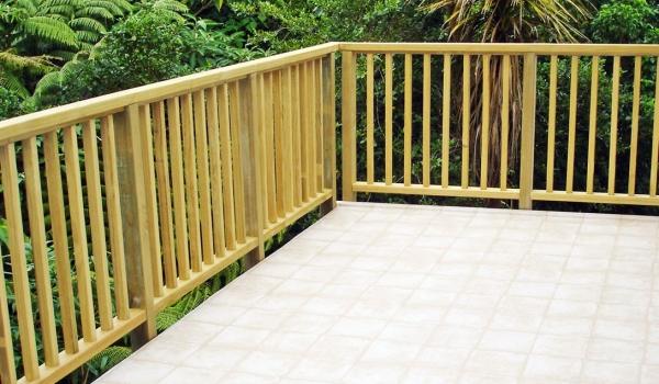 Pine timber deck rail.